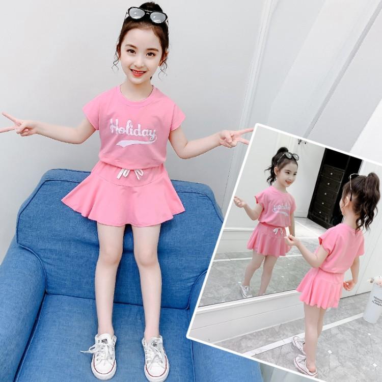 女童印花短裙套装 童装批发厂家直销 直播带货 一件代发