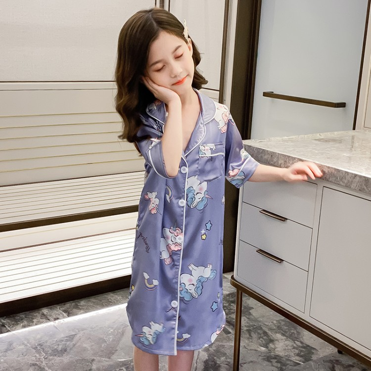 2020夏季女童新款冰丝睡衣空调服 童装厂家 一手货源 一件也批发
