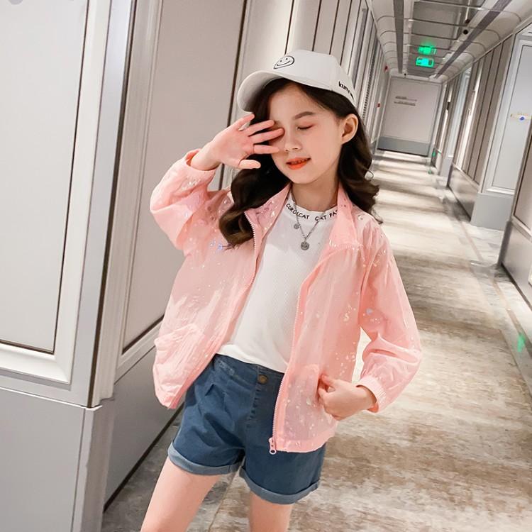 三色烫金图案防晒服空调服防紫外线 童装厂家 一手货源 一件也批发