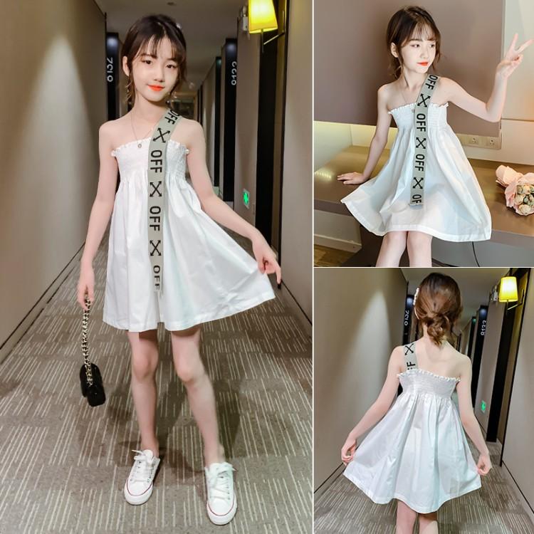 女童白色肩带裙 童装怎么拿货 到织里儿童网 一手货源一件代发