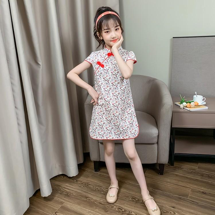 女童碎花旗袍连衣裙 批发加盟代理 厂家直销 直播带货 一件代发
