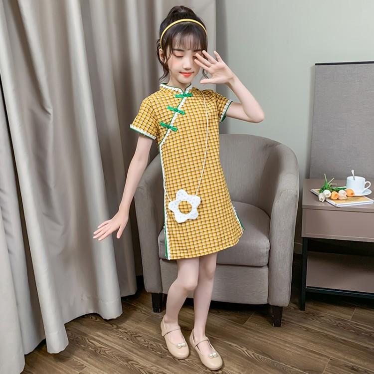 女童花边格子旗袍 批发加盟代理 厂家直销 直播带货 一件代发
