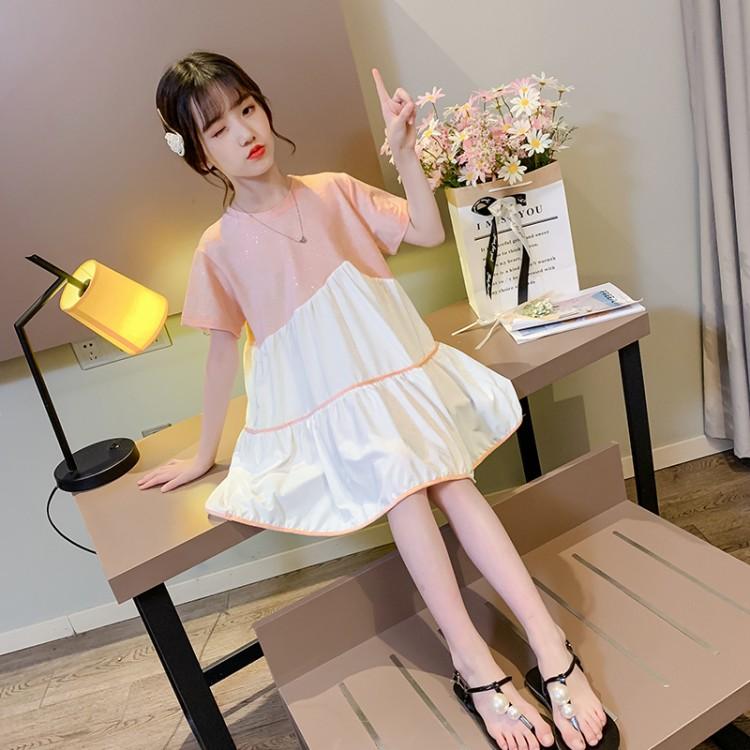 女童撒银拼接雪纺裙 厂家直销 微商直播带货 一件代发