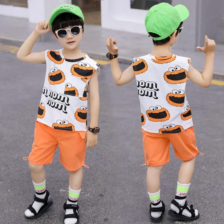 男童芝麻街背心套装 地摊货源 找织里儿童网 一件代发 免费代理 全站包邮