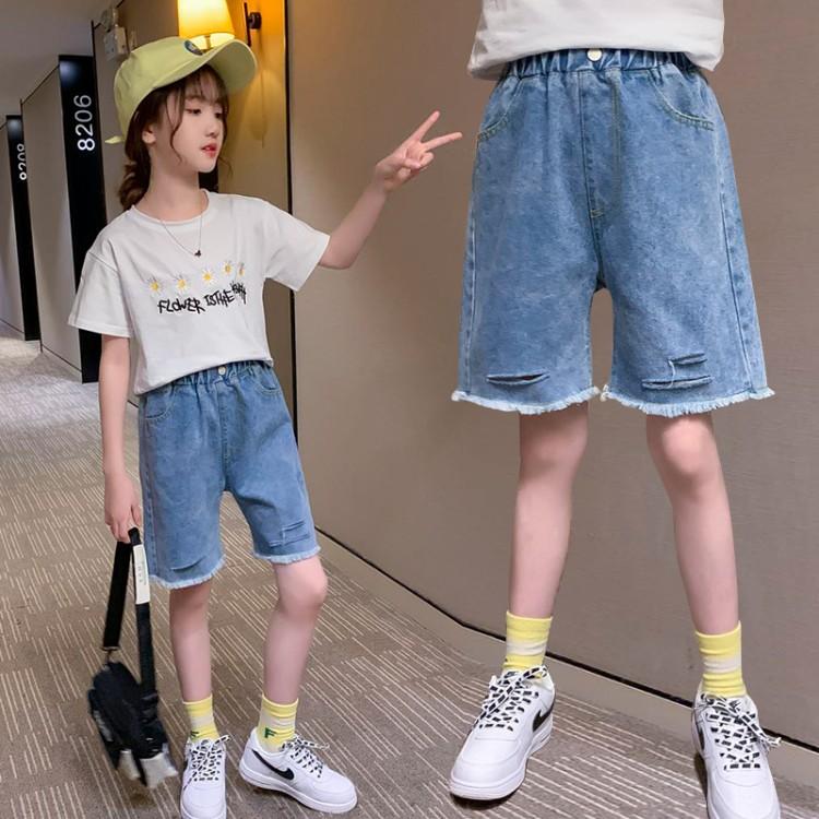 女童破洞五分牛仔裤 童装一件代发 直播带货 优质地摊货源 织里儿童网