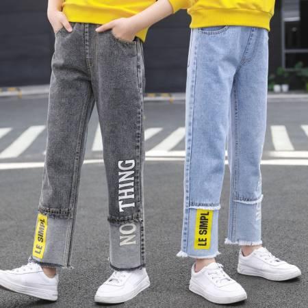 【秋款】拼接字母牛仔阔腿裤童装一件代发 直播带货 微商拿货 织里儿童网