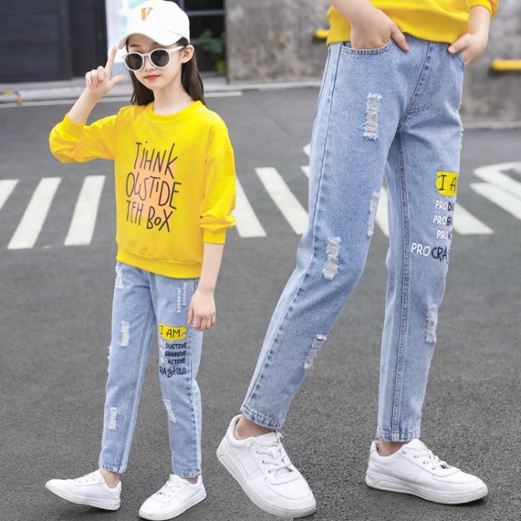 【秋款】黄色字母牛仔长裤童装批发货源 到织里儿童网 一手货源一件批发