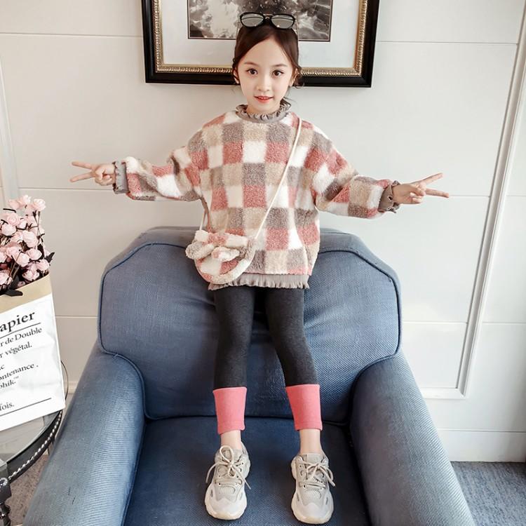 格子毛毛衣套装 厂家童装批发 一手货源 物美价廉 到织里儿童网