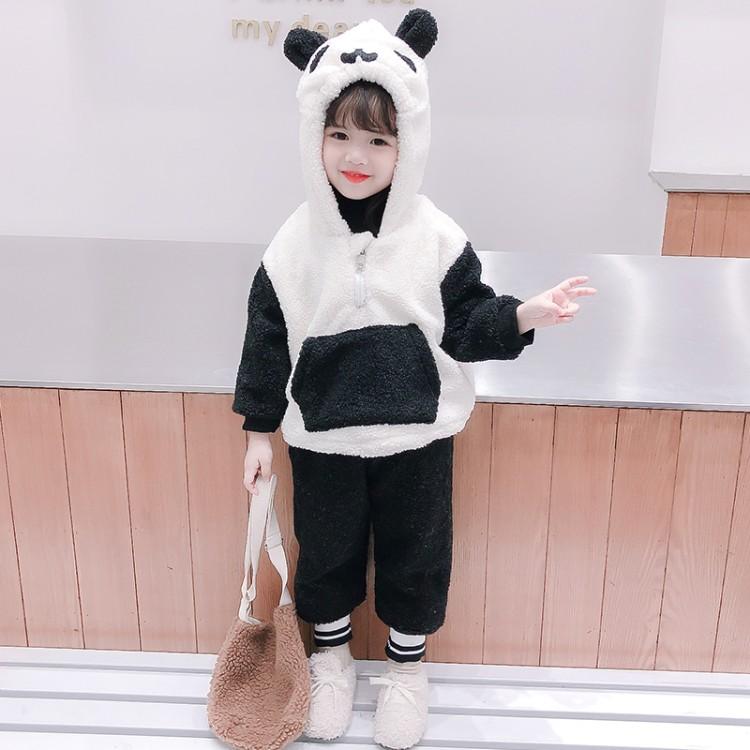 卡通熊猫毛毛衣 童装批发厂家直销 直播带货 一件代发