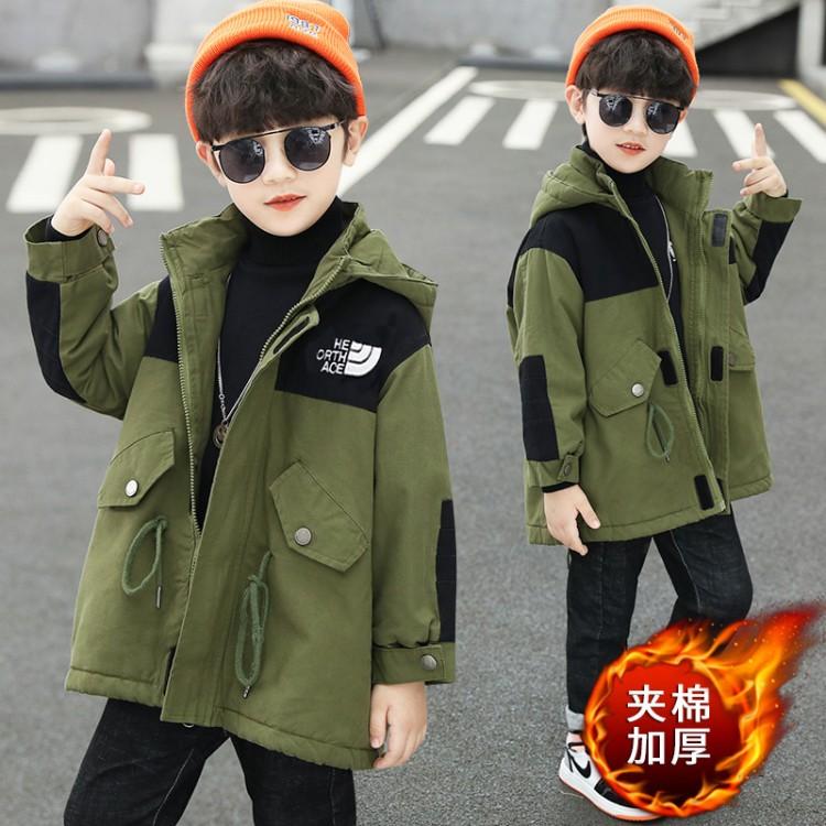 男童拼色夹棉风衣童装一件代发 直播带货 微商拿货 织里儿童网