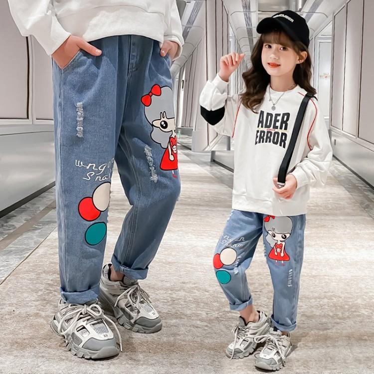 女童新款牛仔裤 品牌童装货源加盟代理 厂家直销 微商直播拿货 一件批发代发