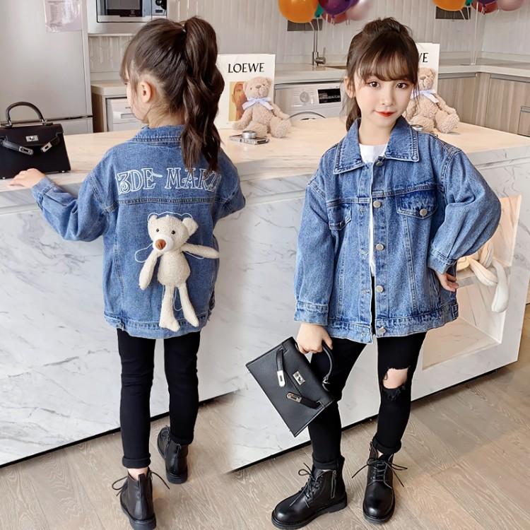 女童小熊牛仔外套童装一件代发 直播带货 微商拿货 织里儿童网