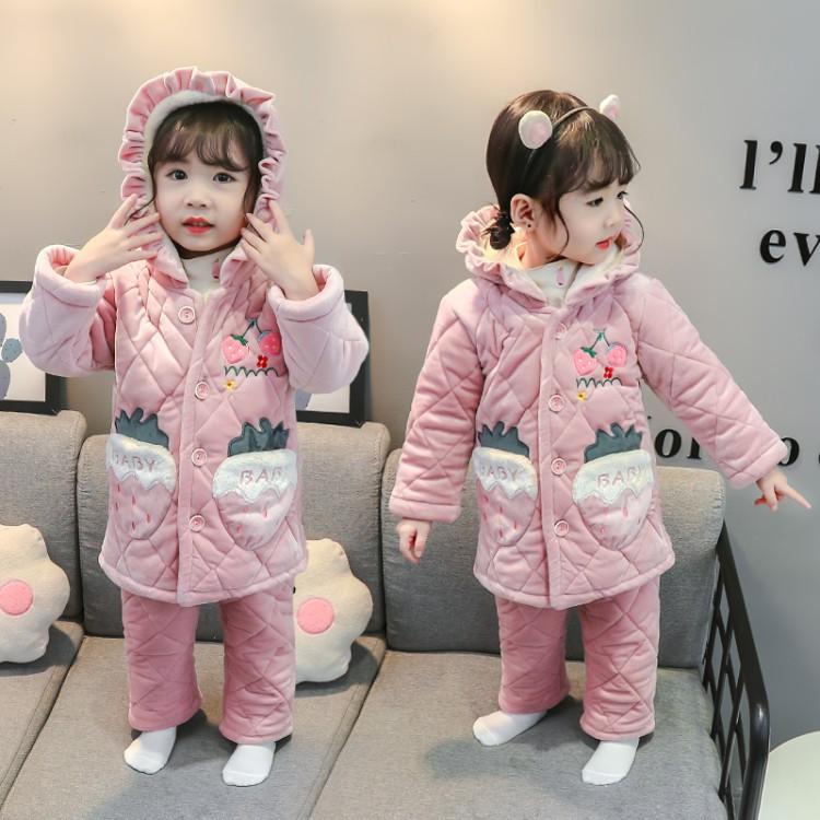 女童草莓中长款丝绵三层加厚套装 童装厂家 一手货源 一件也批发