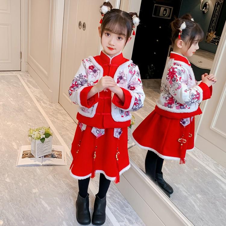 女童中国结拜年服套装 童装厂家 一手货源 地摊货源批发 一件代
