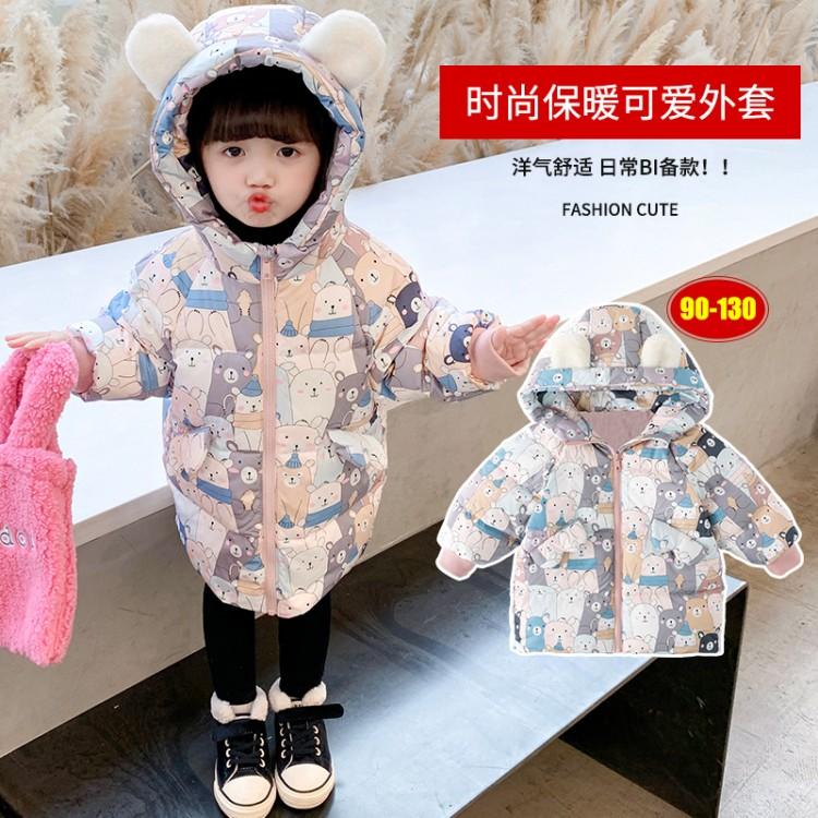 女童小熊字母手塞棉衣 童装拿货 直播带货 就到织里儿童网 一件也批发