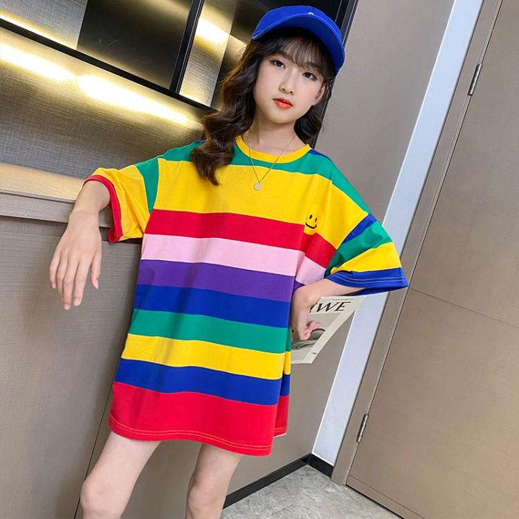 彩虹条长T恤