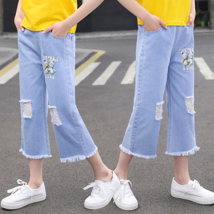 女童夏款两个小熊牛仔阔腿七分裤