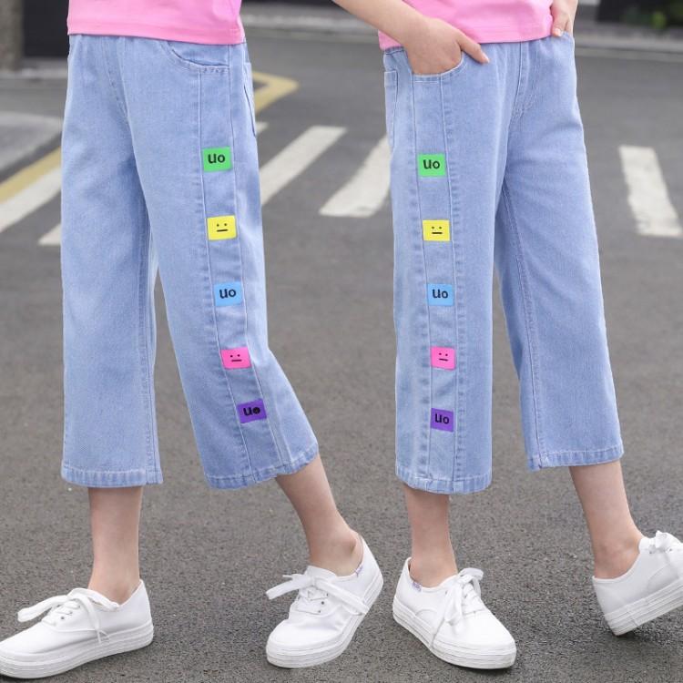 女童夏款拼接贴标牛仔阔腿七分裤