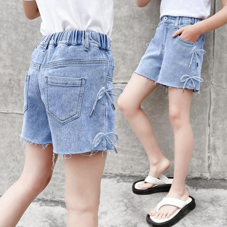 6607女童系绳牛仔短裤