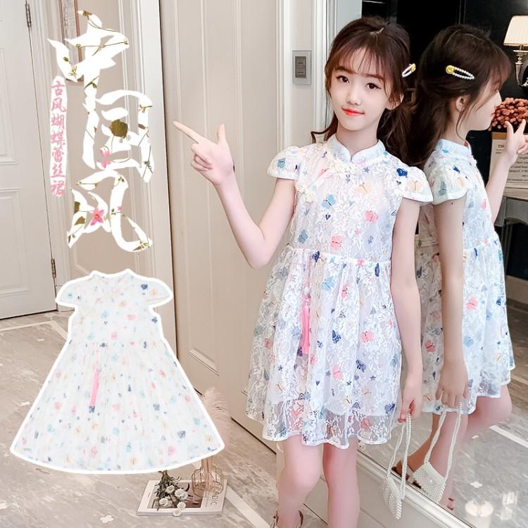 女童旗袍蕾丝裙