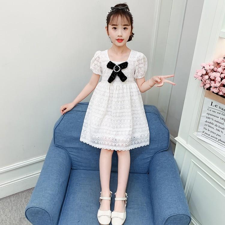 女童蝴蝶结蕾丝裙