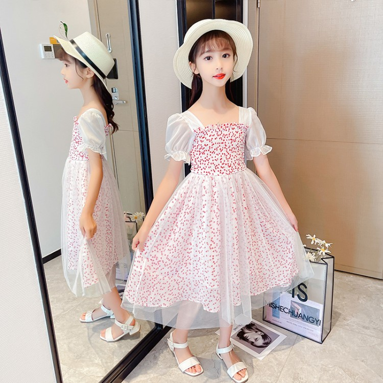 女童爱心雪纺连衣裙