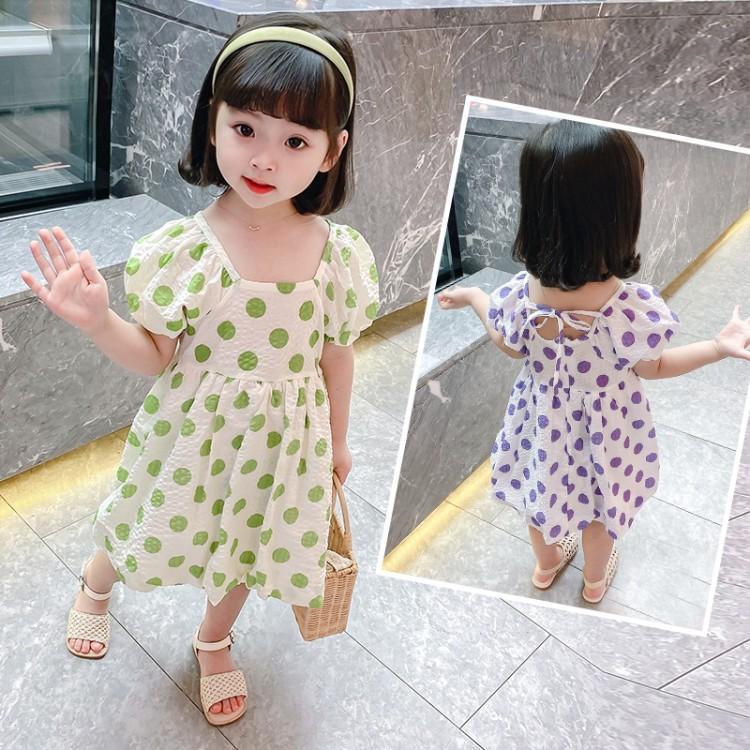 女童圆点连衣裙