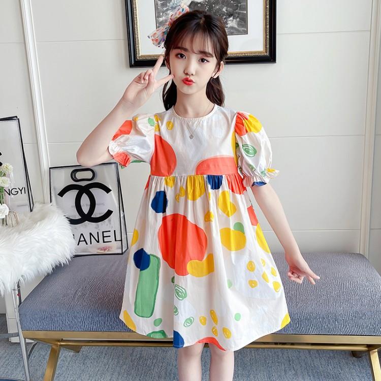 彩色泡泡连衣裙