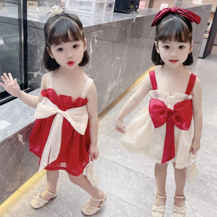 暮云纱蝴蝶结连衣裙