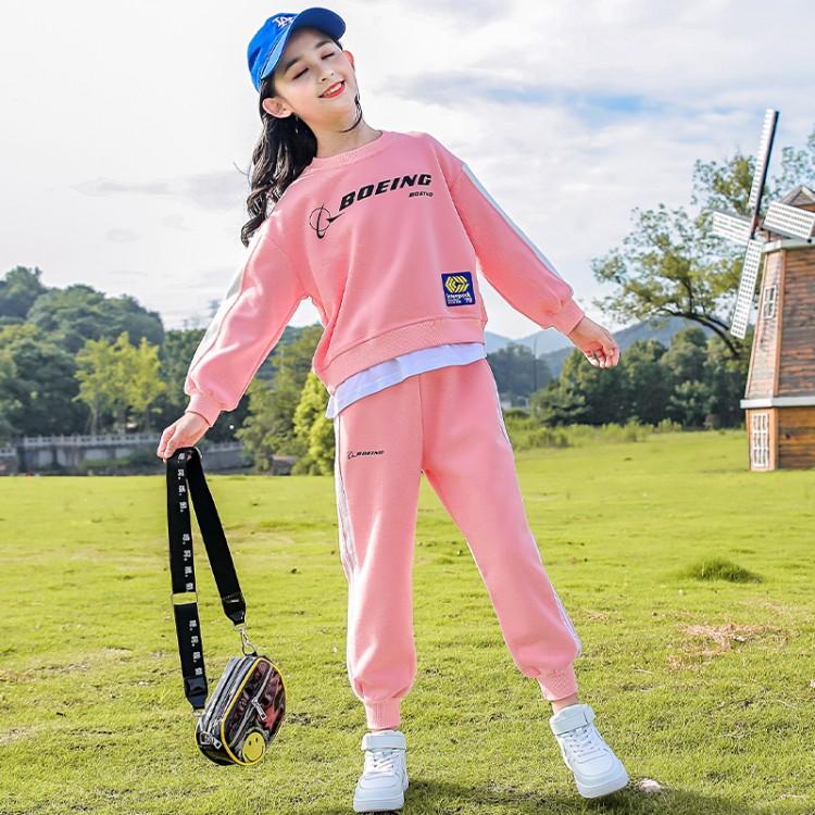 韩版女童秋装套装2021新款春秋季中大儿童洋气时髦网红运动两件套
