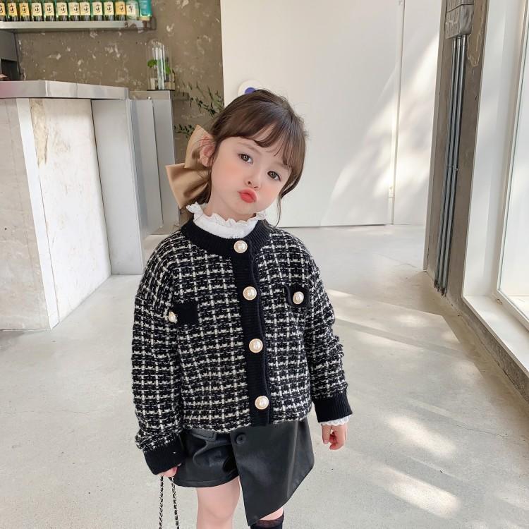 童装女童'高级感'小香风毛衣2021秋冬女宝宝气质珍珠长袖外套