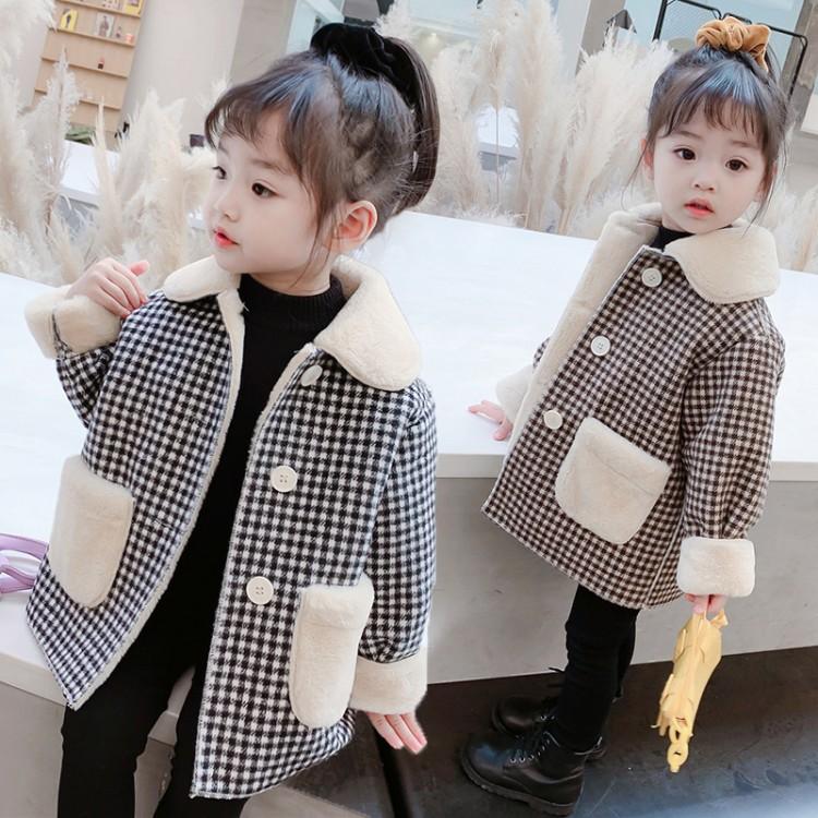 格子兔毛口袋外套20171-加绒