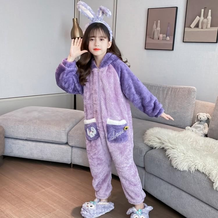2021年新款女童冬款戴妃兔连体衣