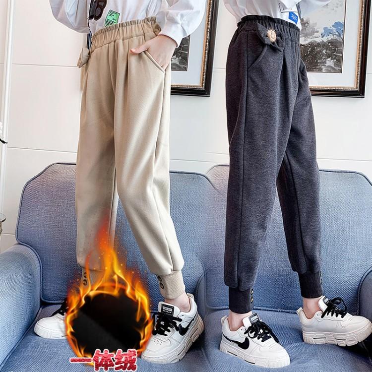 三色加绒束脚裤