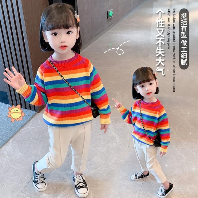 加厚韩版彩虹毛衣